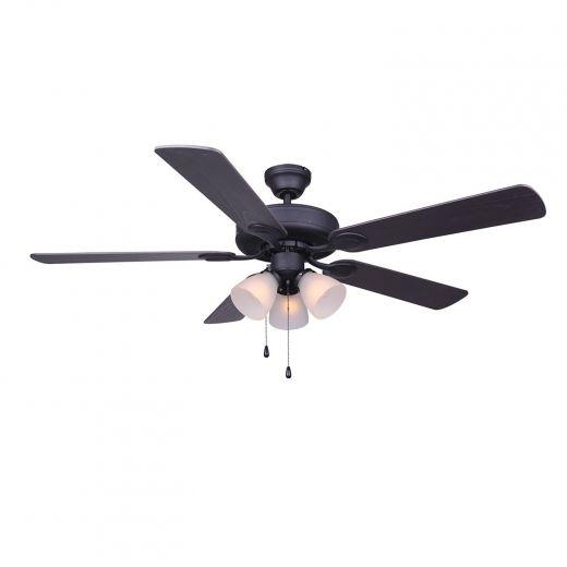 """Villa 52"""" Matte Black Ceiling Fan"""