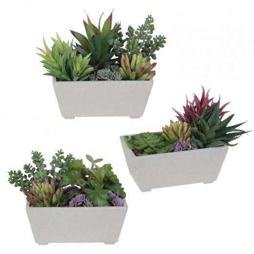 "5"" Artificial Succulents In Rectangular Terracotta Pot"