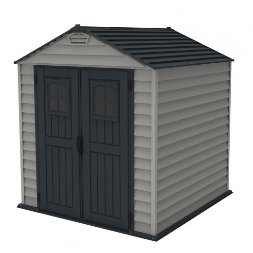 7' x 7' Store Mate Plus Shed – Adobe And Dark Grey