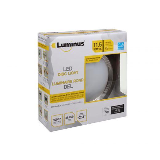 """Luminus LED 11.5W 6"""" Disc Light Silver Finish 3000K"""