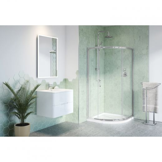 Chrome Frame Clear Glass Capri Round 3 Shower Door