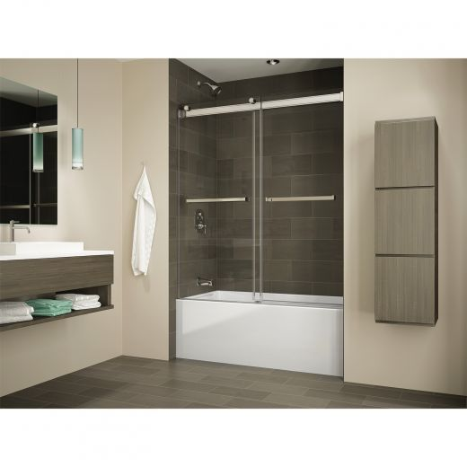 Black Frame Clear Glass Tub Door Gemini Bypass
