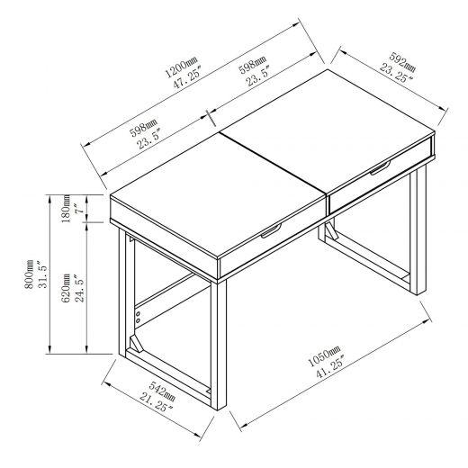 "47"" White Lift Top Desk With Oak Legs"