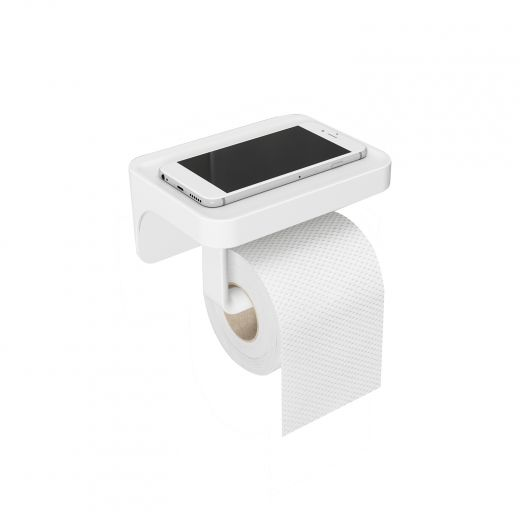 Flex Sure-Lock White Shelf And Toilet Paper Holder