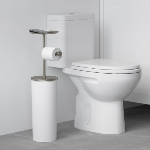 Portaloo White And Nickel Toilet Paper Stand And Reserve