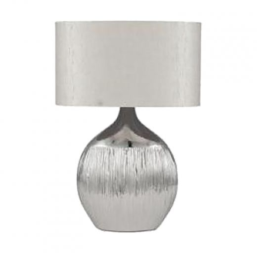 Grey And Yellow Ceramic Base Lamp With Beige Shade