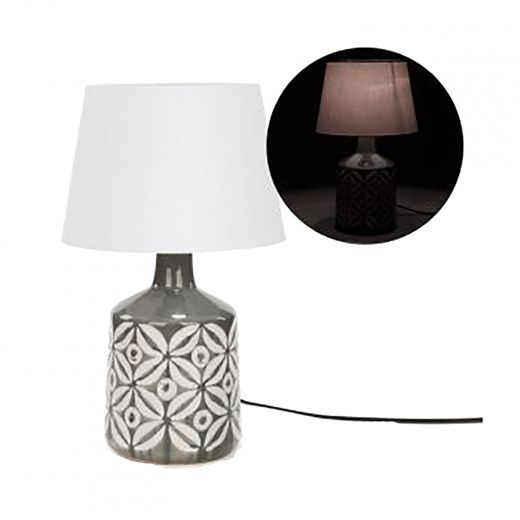 Grey Geometric Pattern Ceramic Table Lamp With Shade