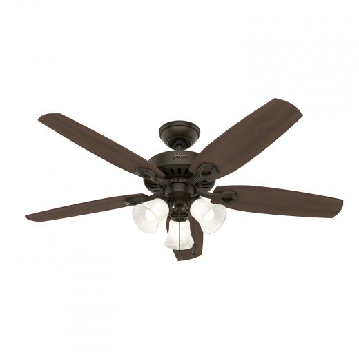 "Hinnman, 52"" 5 Blade New Bronze Ceiling Fan With LED Lightin"