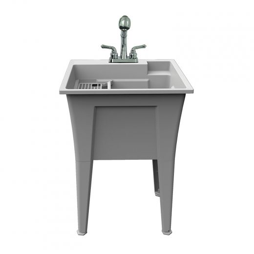 Laundry And Garage Sink With Faucet And Installation Kit