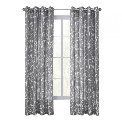 "52"" x 84"" Augusta Grey Sheer Curtain"