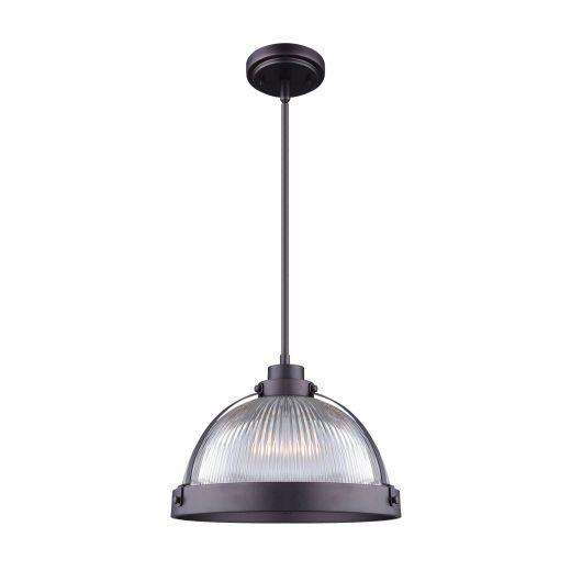 Rod Pendant With Clear Ribbed Glass- 1 Light