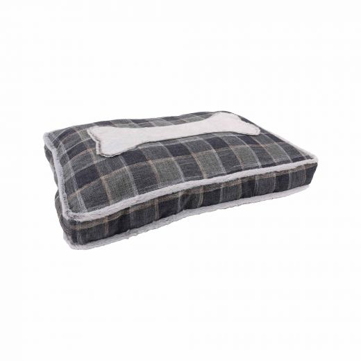 """30"""" x 20"""" Pet Bed With Bone And Plaid Print"""