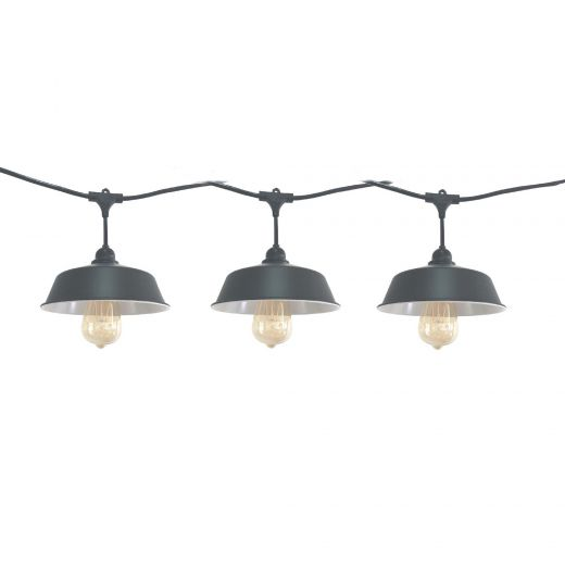 24 Ft LED String Lights With Barn Lamp Shade And Vintage Bul
