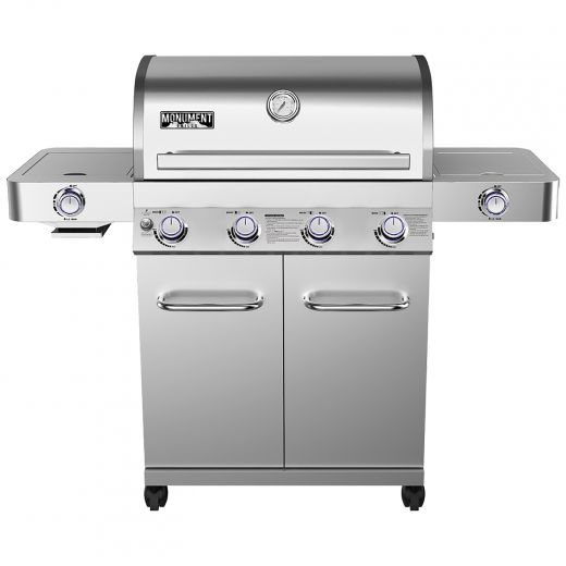 Stainless Steel 4-Burner Propane Grill With Sear And Side Bu