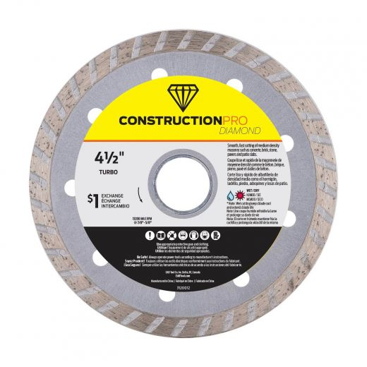 "4-1/2"" Turbo Construction Pro Diamond Blade - Exchangeable"