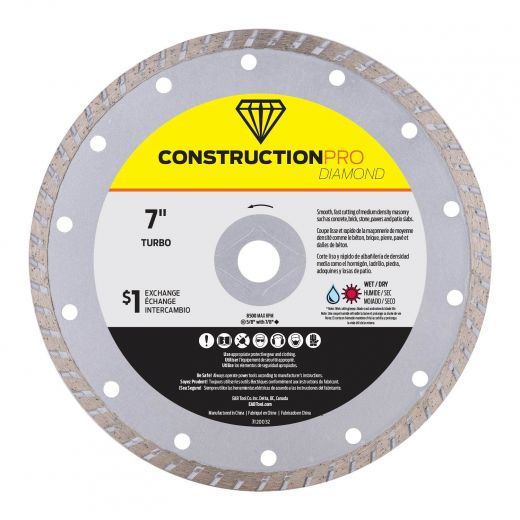 "7"" Turbo Construction Pro Diamond Blade - Exchangeable"
