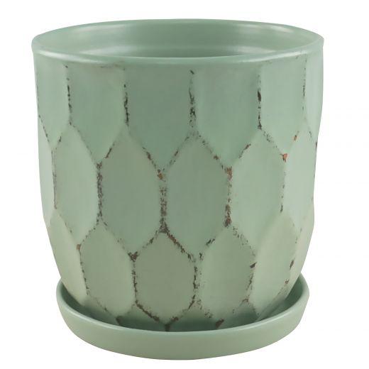 "5.5"" Sage Distressed Honeycomb Pot"