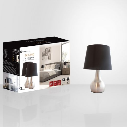 Delano 3 Way Dim Touch Lamp-2/Pack
