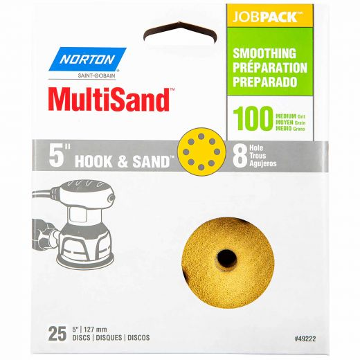 """5"""" 8 Hole Norton Hook And Sand Disc 100 Grit-25/Pack"""