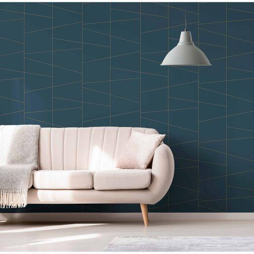 Fairmont Blue Deco Fracture Wallpaper