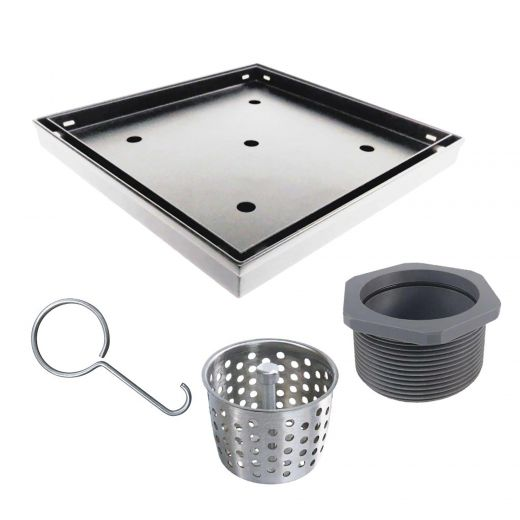 """Shower Drain 4""""x4"""" With Tile-Insert in Stainless Steel"""