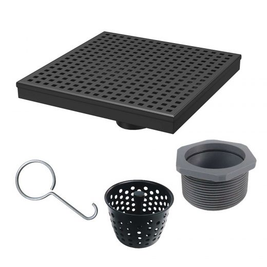 """Shower Drain 8""""x8"""" With Square Grate In Matte Black"""