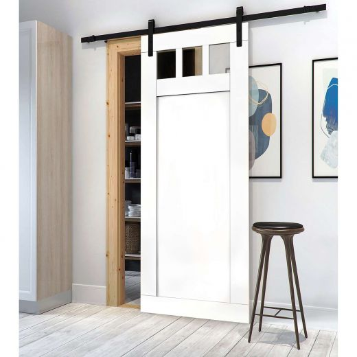 """33"""" x 84"""" White MDF Door With 3 Glass Panes"""