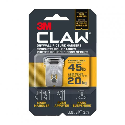 CLAW Drywall Picture Hanger 45 lb 3 hangers, 3 markers