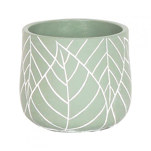 """4.75"""" Mint Green Leaf Pot"""