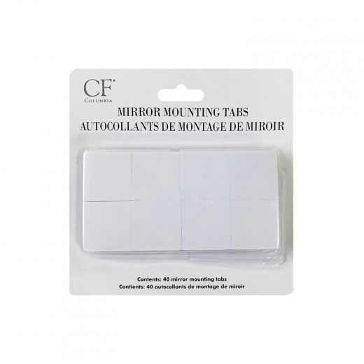 White Mirror Mounting Tabs-40/Pack