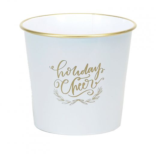 """8"""" White And Gold Christmas Pot"""
