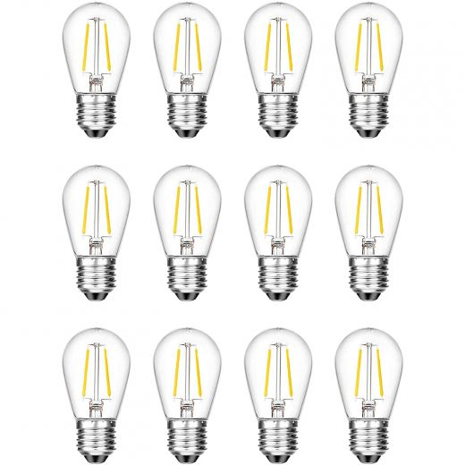LED Replacement S14 2W String Light Bulbs-12/Pack