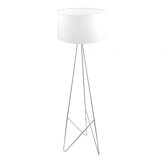 """Camporale 60"""" White And Chrome Floor Lamp"""