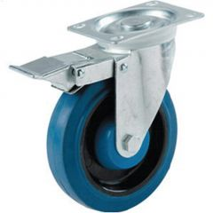 "Dyna-tred 4"" Blue Rubber Wheel Swivel Caster With Brake"