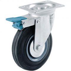 """4"""" Black Wheel Swivel Caster With Brake"""