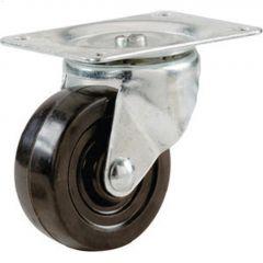 """1-1/4"""" Black Soft Rubber Wheel Swivel Caster"""