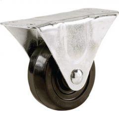 "1-1/2"" Black Soft Rubber Wheel Rigid Caster"