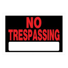 "8"" x 12"" Red On Black No Trespassing Sign"