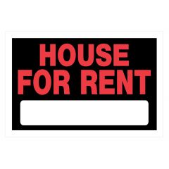 "8"" x 12"" Red On Black House For Rent Sign"