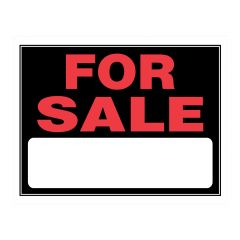 "15"" x 19"" Fluorescent Red On Black For Sale Sign"