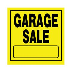 "11"" x 11"" Black On Bright Yellow Garage Sale Heavy Duty Sign"