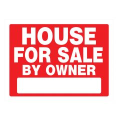 "18"" x 24"" White On Red House For Sale Heavy Duty Sign"