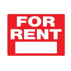 "18"" x 24"" White On Red For Rent Heavy Duty Sign"