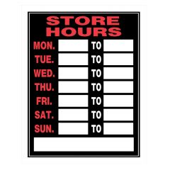 "15"" x 19"" Fluorescent Red On Black Store Hours Sign"