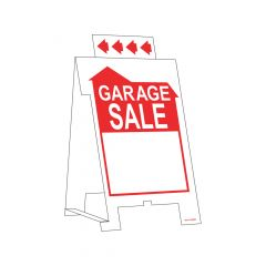"19"" x 12"" White On Red Garage Sale Corrugated Sign"