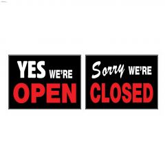"15"" x 19"" Fluorescent Red & White On Black Open/Closed Sign"