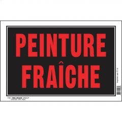"8"" x 12"" Fluorescent Red On Black Peinture Fraîche Sign"