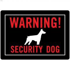 "10"" x 14"" Fluorescent Red On Black Warning Security Dog Sign"