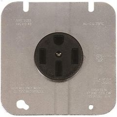 50 A Black Straight Blade Dryer Power Receptacle
