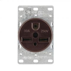 30 A Brown Straight Blade Power Receptacle